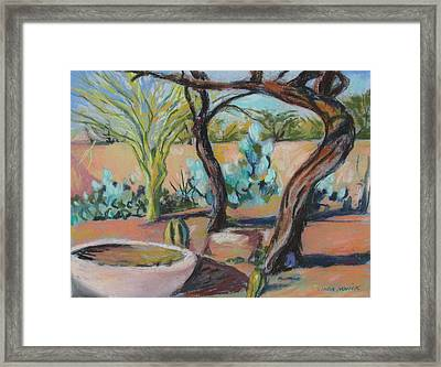 Framed Print featuring the painting Dancing Mesquite Trees by Linda Novick