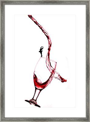 Dancing On A Glass Cup With Splashing Wine Little People On Food Framed Print by Paul Ge