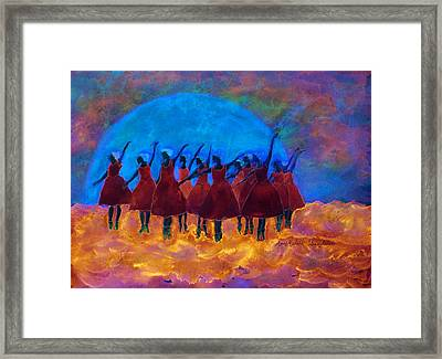 Dancing On Fire In The Moon Light Framed Print