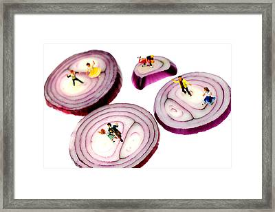 Dancing On Onoin Slices Little People On Food Framed Print