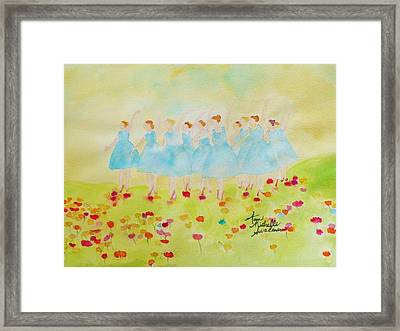Dancing On Top Of The Flowers Framed Print