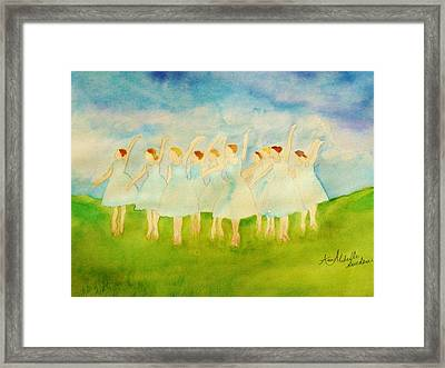 Dancing On Top Of The Grass Framed Print