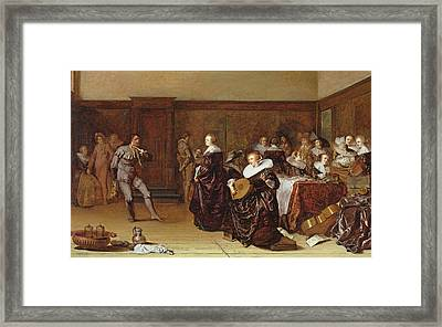 Dancing Party, 17th Century Framed Print by Pieter Codde