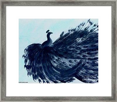 Dancing Peacock Aqua Framed Print by Anita Lewis
