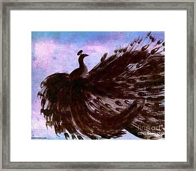 Dancing Peacock Blue Pink Wash Framed Print by Anita Lewis