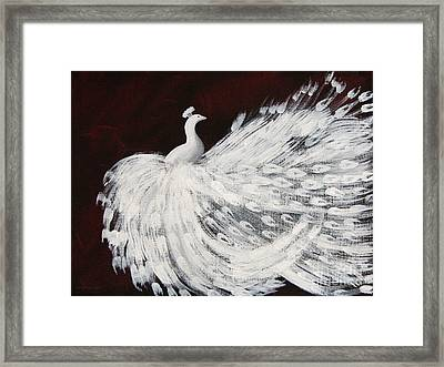 Dancing Peacock Burgundy Framed Print