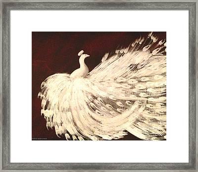 Dancing Peacock Cream Framed Print by Anita Lewis