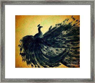 Dancing Peacock Gold Framed Print by Anita Lewis