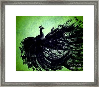 Dancing Peacock Green Framed Print by Anita Lewis