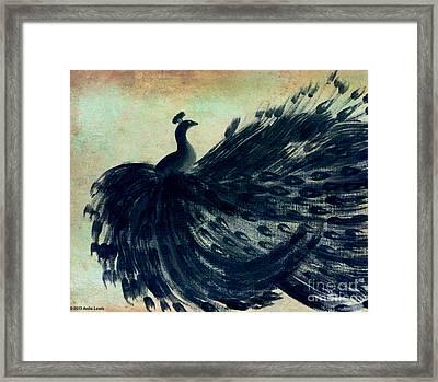 Dancing Peacock Mint Framed Print by Anita Lewis