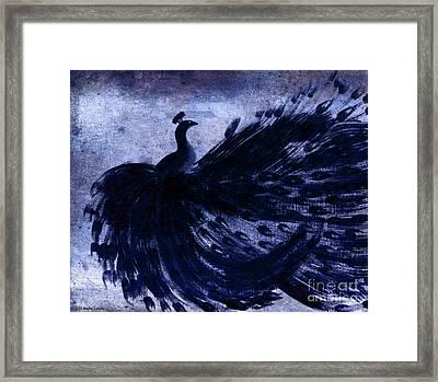 Dancing Peacock Navy Framed Print by Anita Lewis