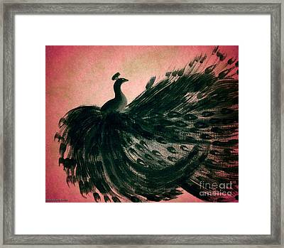 Dancing Peacock Pink Framed Print by Anita Lewis