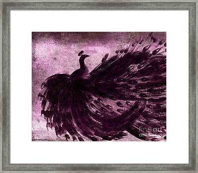 Dancing Peacock Plum Framed Print