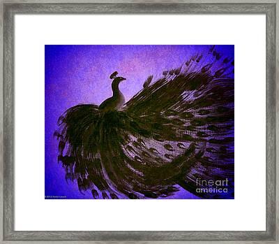 Dancing Peacock Vivid Blue Framed Print by Anita Lewis