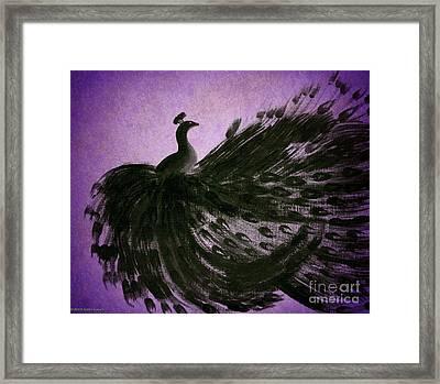 Dancing Peacock Vivid Purple Framed Print by Anita Lewis