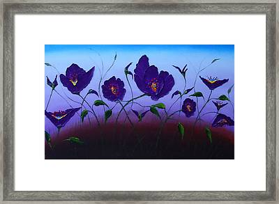 Dancing Purple Poppies 1 Framed Print by Portland Art Creations