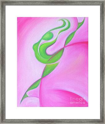 Dancing Sprite In Pink And Green Framed Print by Tiffany Davis-Rustam