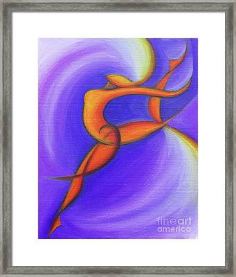 Dancing Sprite In Purple And Orange Framed Print by Tiffany Davis-Rustam