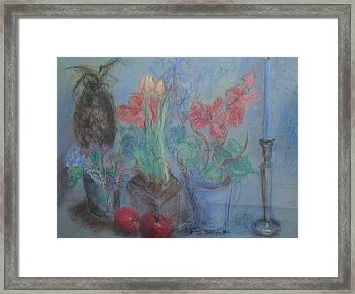 Dancing Still Life In Pastel Framed Print by Patricia Kimsey Bollinger