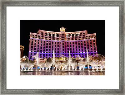 Dancing Waters - Bellagio Hotel And Casino At Night Framed Print