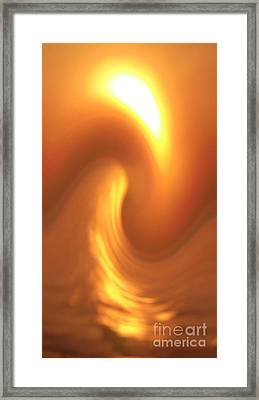 Dancing Wave With Moon In Yellow Framed Print