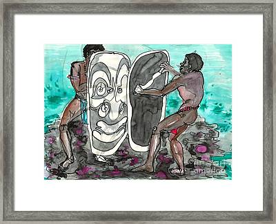 Dancing With Masks Framed Print by Judith Van Praag