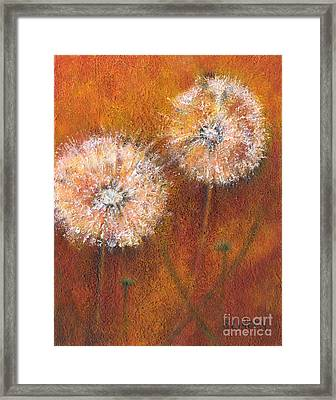 Framed Print featuring the painting Dandelion Clocks by Sandy Linden