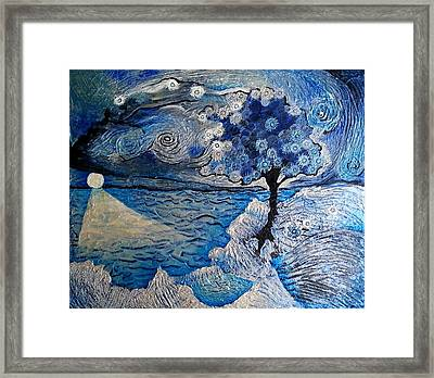 Dandelion From A Wishbrush Tree Into Space Framed Print