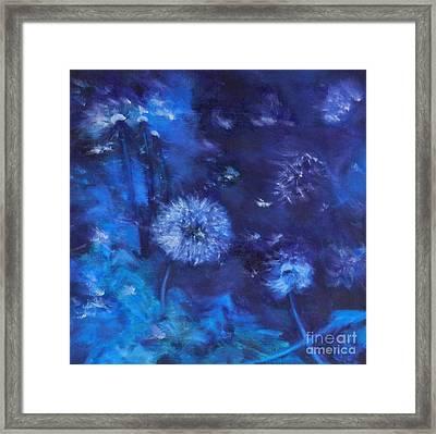 Dandelion Night Framed Print by Leisa Shannon Corbett