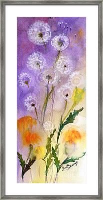 Dandelion Puff Balls Watercolor Framed Print