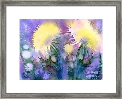 Framed Print featuring the painting Dandelions by Teresa Ascone