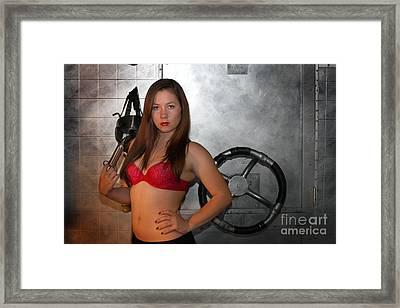Danger Brunette Framed Print