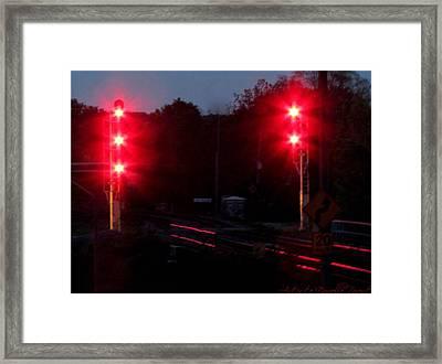 Danger Train Signals On Framed Print by Danielle  Parent