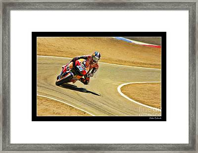 Dani Pedrosa Running Out Of Road Framed Print