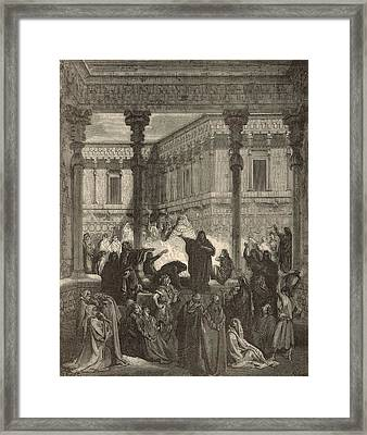 Daniel Confounding The Priests Of Bel Framed Print by Antique Engravings