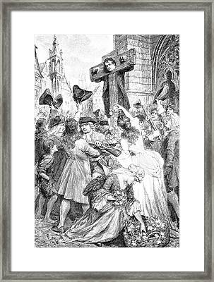 Daniel Defoe In A Pillory Framed Print by Bildagentur-online/tschanz
