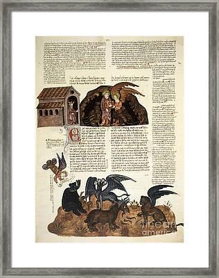 Daniel In The Lions' Den, 1430 Artwork Framed Print by Patrick Landmann