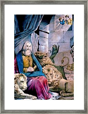 Daniel In The Lions Den Framed Print by Currier and Ives