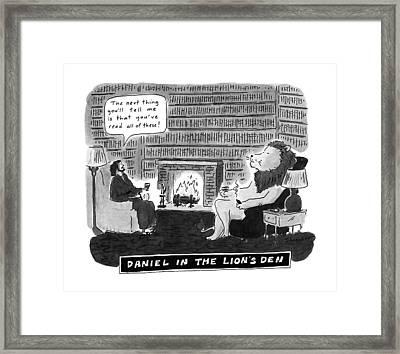 Daniel In The Lion's Den Framed Print by Danny Shanahan
