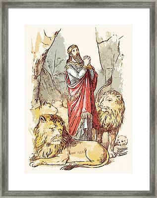 Daniel In The Lions' Den Framed Print by God and Country Prints