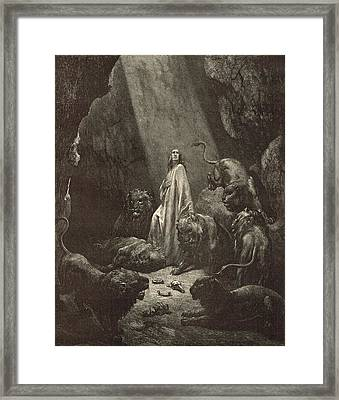 Daniel In The Lions' Den Framed Print by Antique Engravings