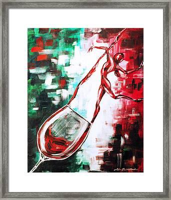 Dans Le Vin Mistero Framed Print