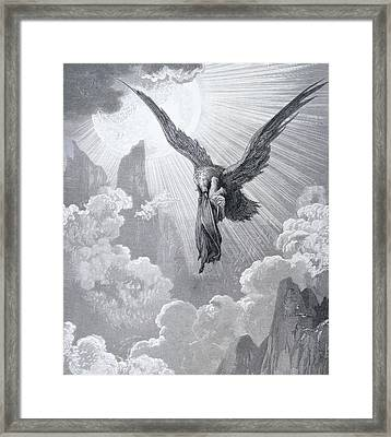 Dante And The Eagle Framed Print by Gustave Dore