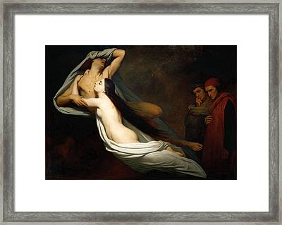 Dante And Virgil Encountering The Shades Of Francesca De Rimini And Paolo In The Underworld Framed Print