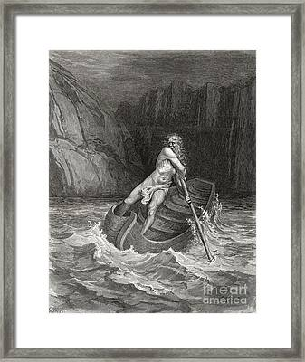 Dante's Inferno, Charon On The Styx Framed Print