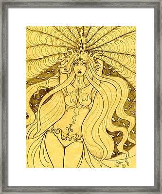 Danu Rising Sketch Framed Print by Coriander  Shea