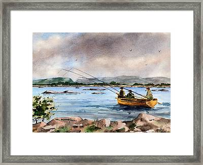 Mayo Dapping On Lough Mask Framed Print by Val Byrne