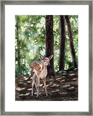 Framed Print featuring the painting Dappled Innocence by Mary McCullah