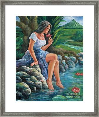 daragang magayon -beautiful lady in Mayon Framed Print by Manuel Cadag