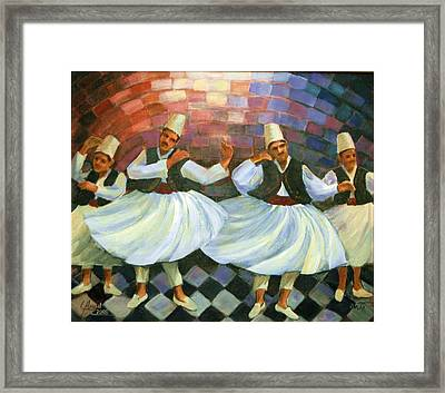 Framed Print featuring the painting Daraweesh Dancing by Laila Awad Jamaleldin